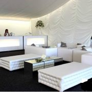 white chesterfield benches with white club lounge sofas and mirror cubes