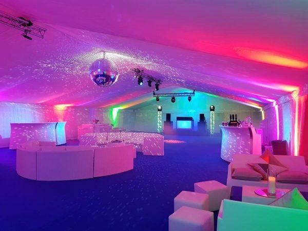 White sofa hire with white cube ottomans