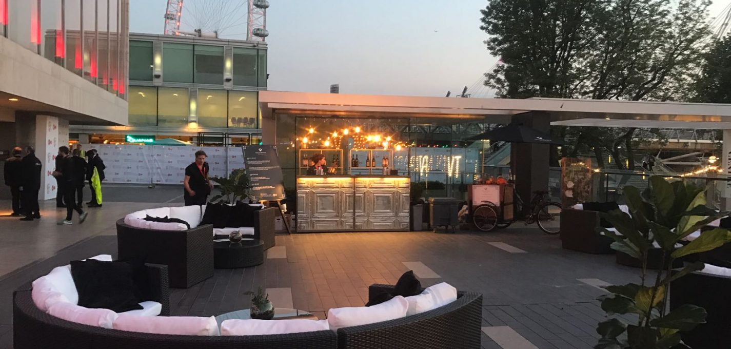 Venue decoration hire: rattan furniture on south bank with london eye in the background