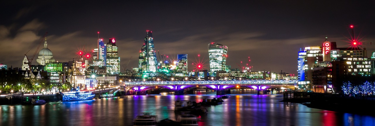 London at night with view of Thames, London bridge, St Paul's Cathedral, and the Shard