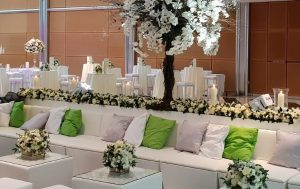faux leather furniture for a wedding