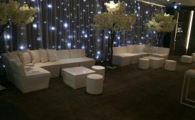 White Faux Leather Sofa at Bulgari Hotel