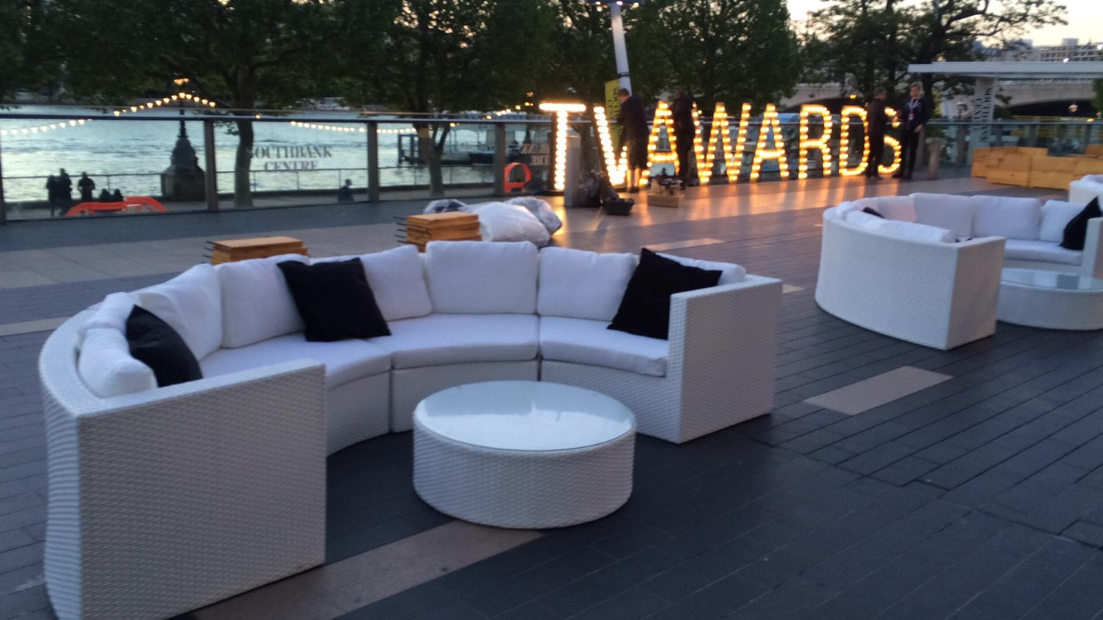 White rattan curved sofas at London south bank for baftas