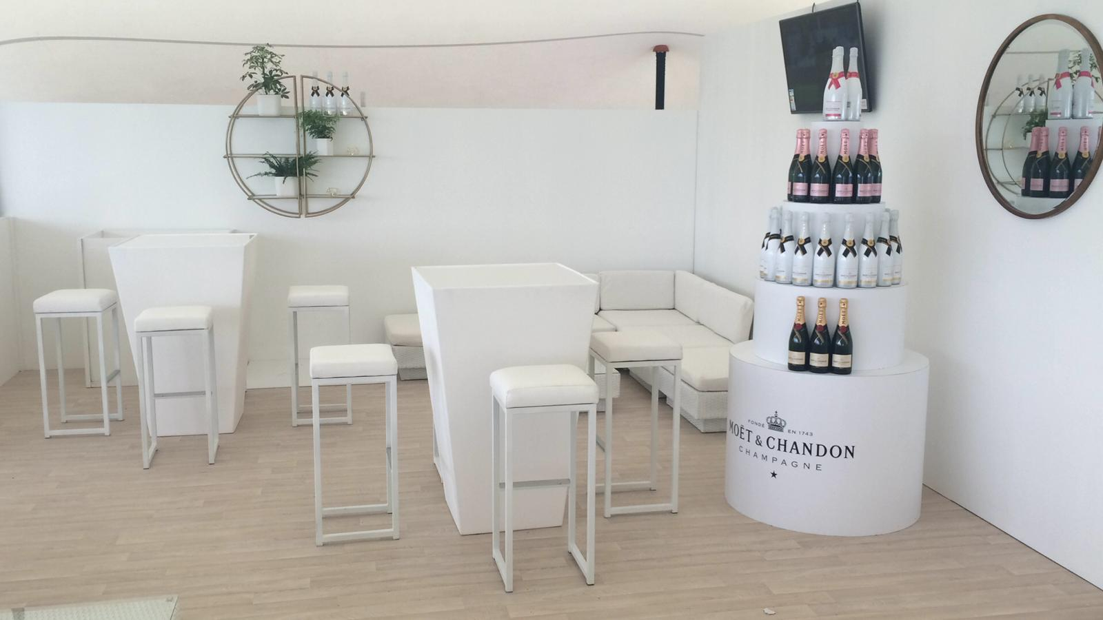 hi-ball-poseur tables and kubo bistro stolls in Moet VIP lounge at Epsom