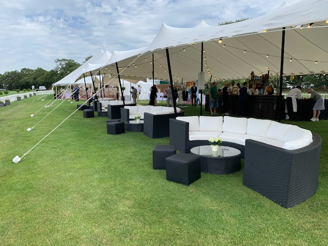 black rattan sofa hire at Polo