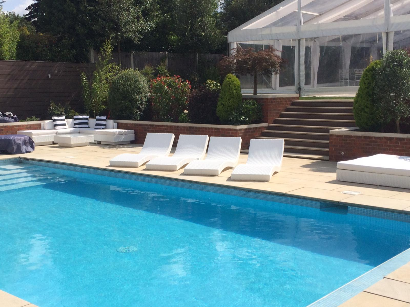 Sun lounger hire at pool party