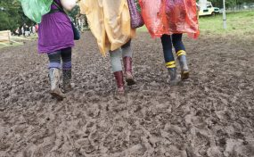 wellington boots at a festival