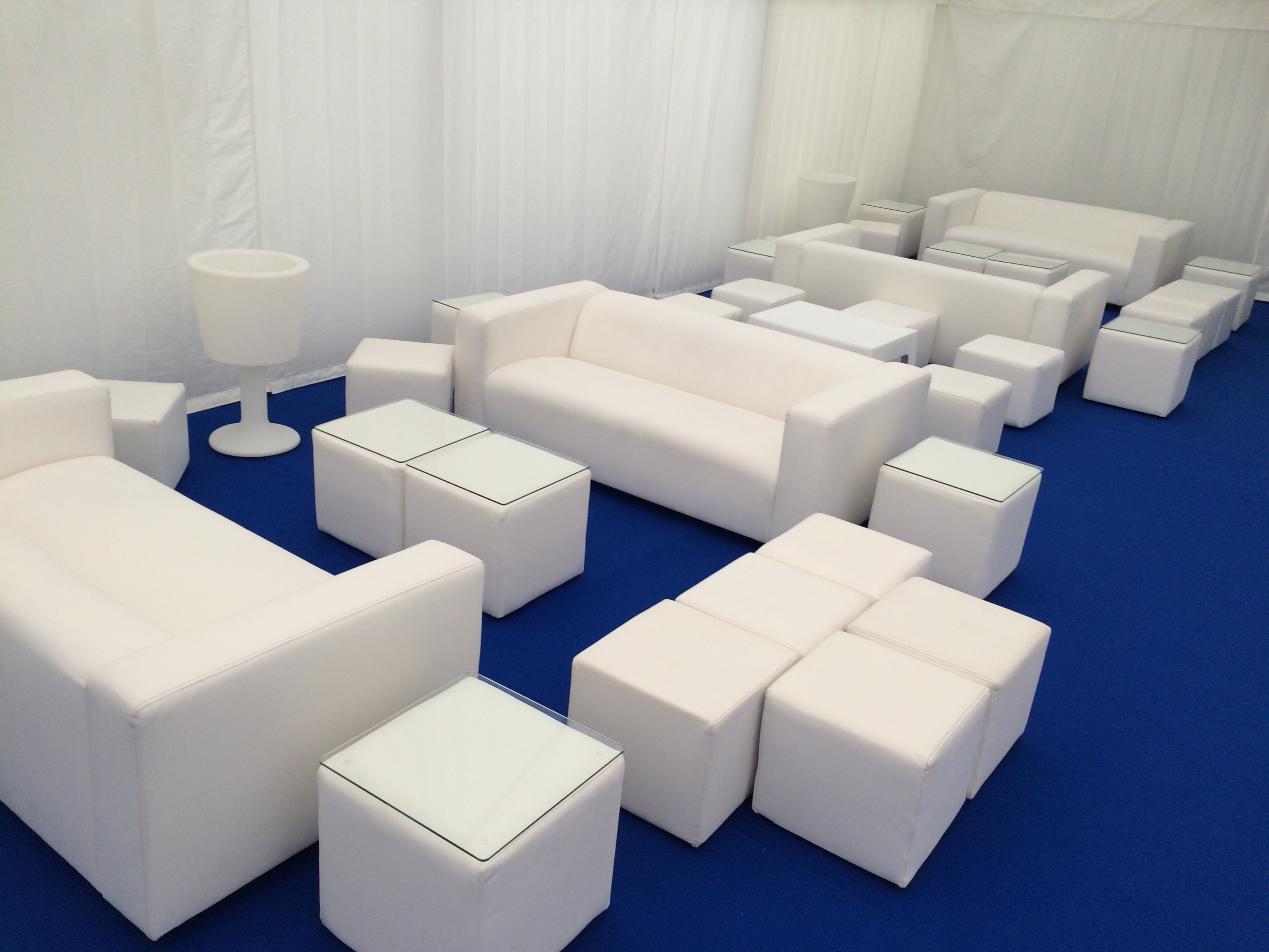 Cabo tables and club sofa hire