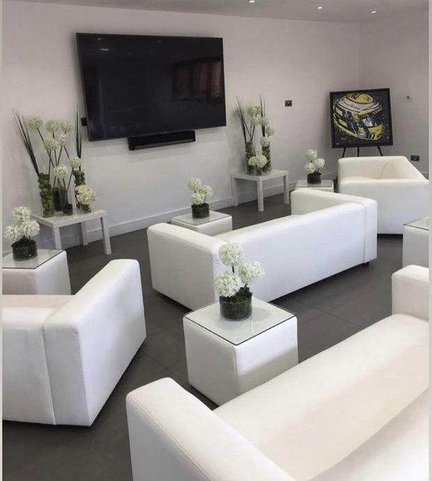 white club sofa hire and Cabo Tables at Bell Classics