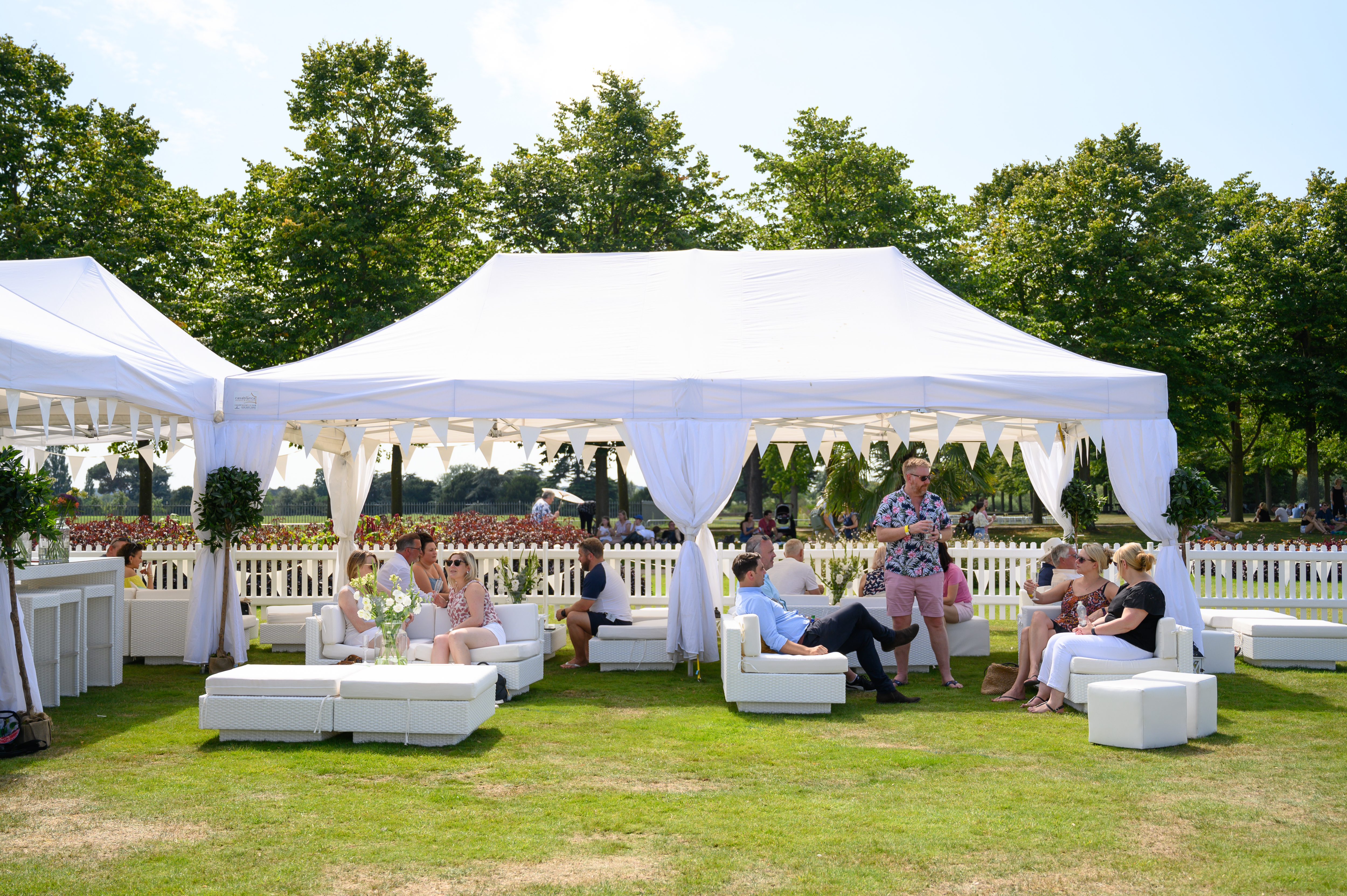 white outdoor festival furniture hire