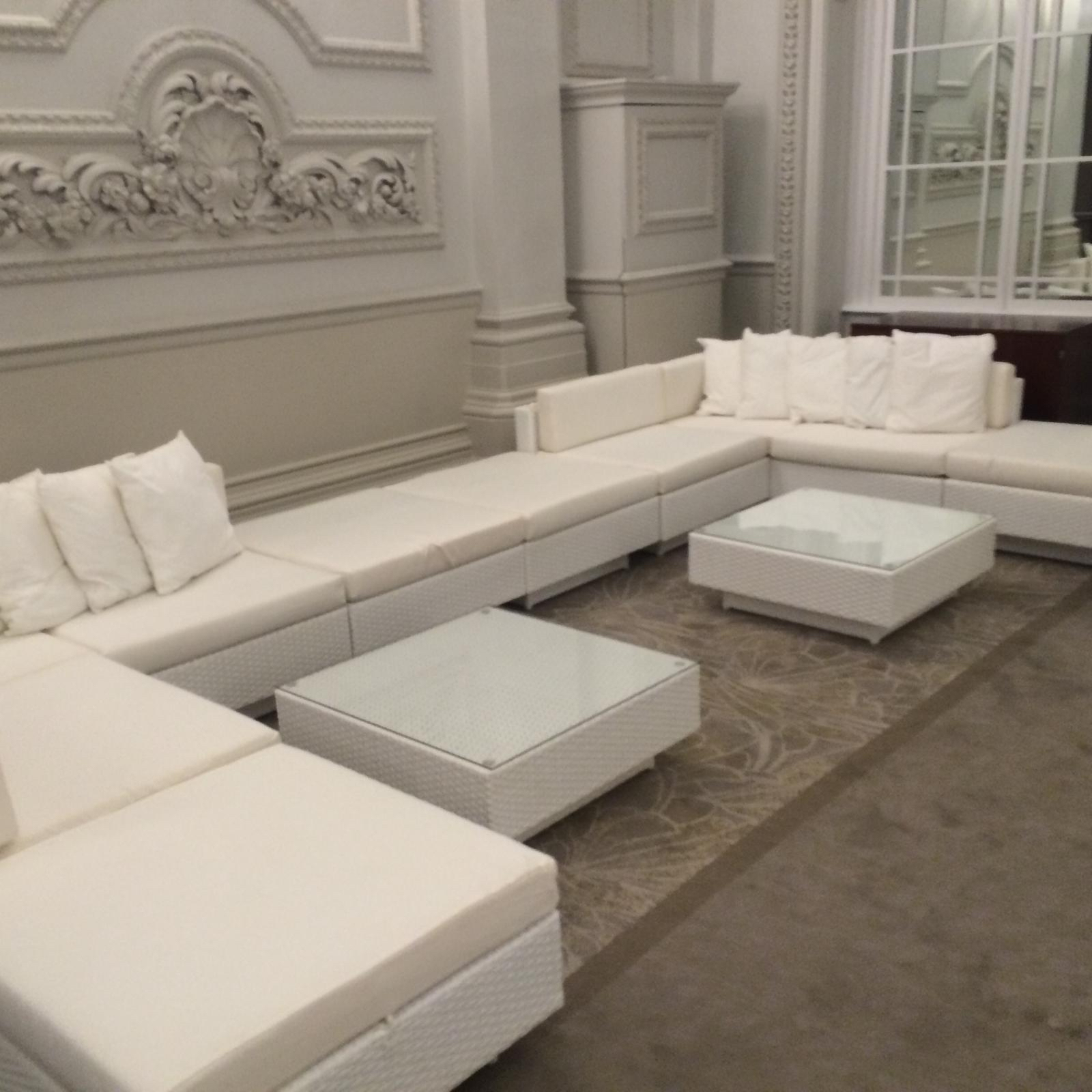 rattan furniture hire: white rattan sofas at Langham hotel