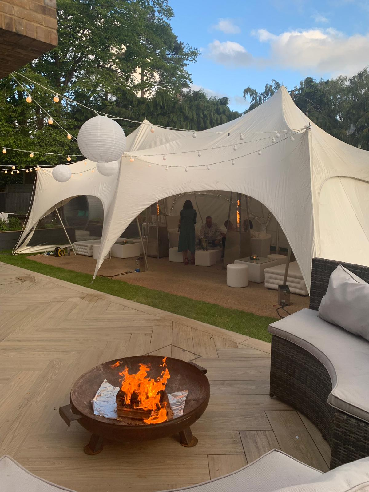 outdoor furniture hire: autumnal wedding with fire pit