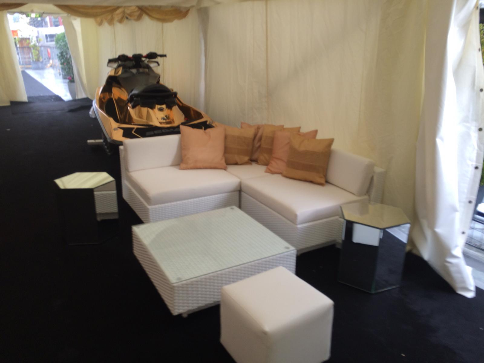 white luxury furniture hire with gold scatter cushions