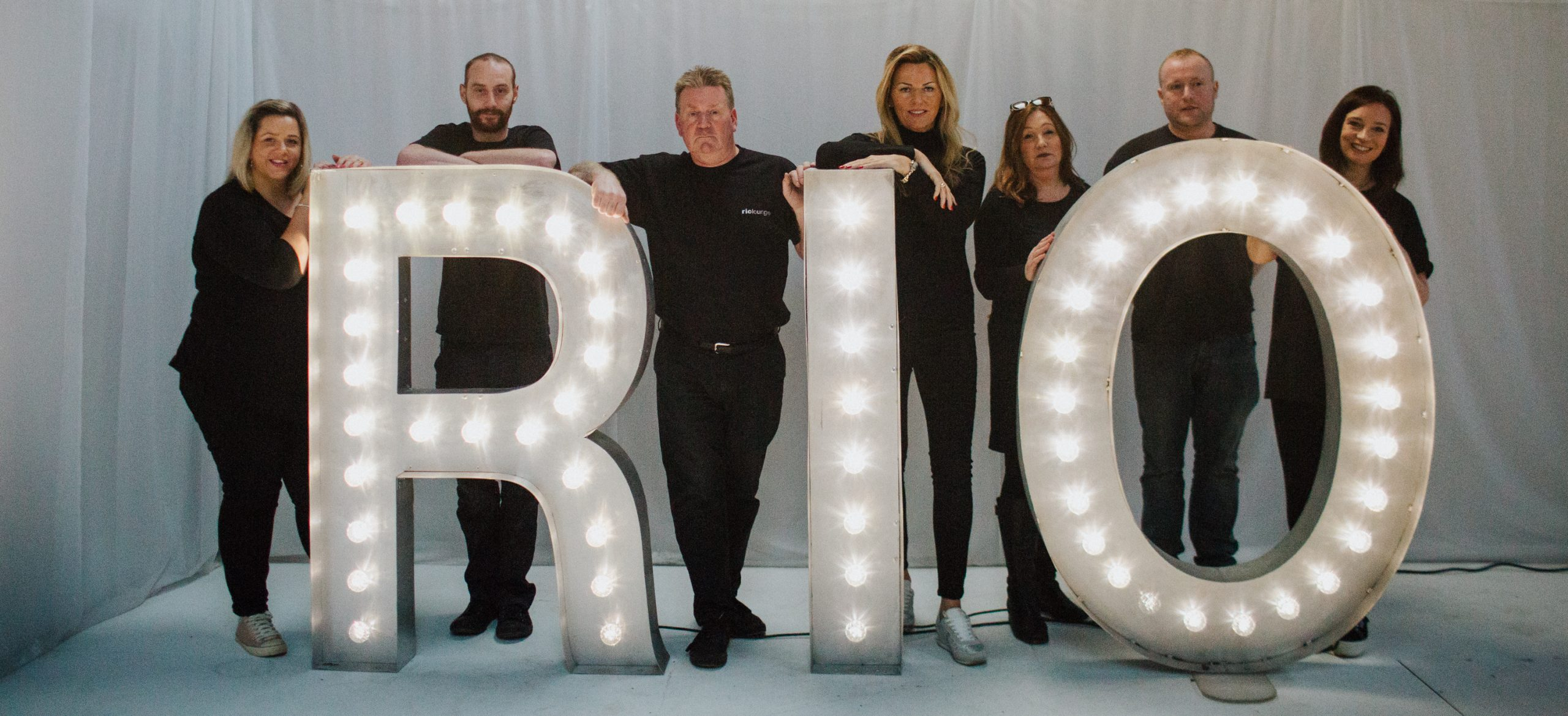 furniture hire company staff with light up letters