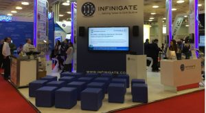 exhibition furniture hire: blue ottomans