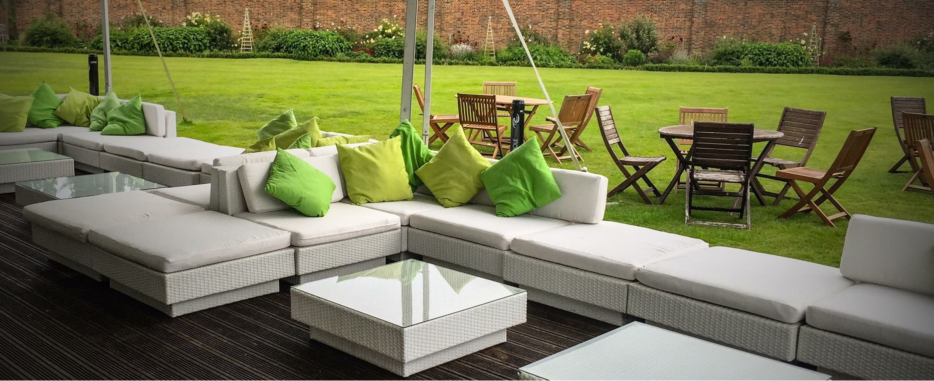 outdoor furniture hire: white sofa hire