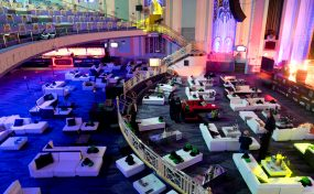 funky furniture hire at The Troxy art deco venue