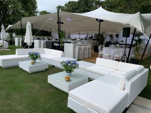 white rattan event furniture hire Polo match