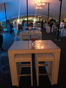 Bistro furniture hire at Bedford Prom festival