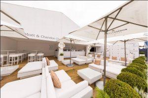 VIP lounge for Moet - white rattan sofa hire