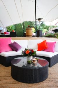 hiring garden furniture - outdoor sofa social distance