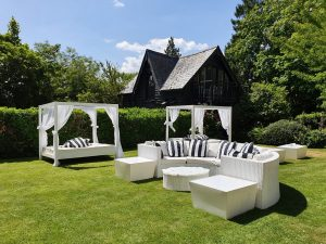 Luxury furniture hire at a garden party