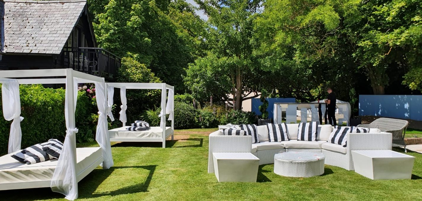 luxury furniture hire: daybeds at a garden party