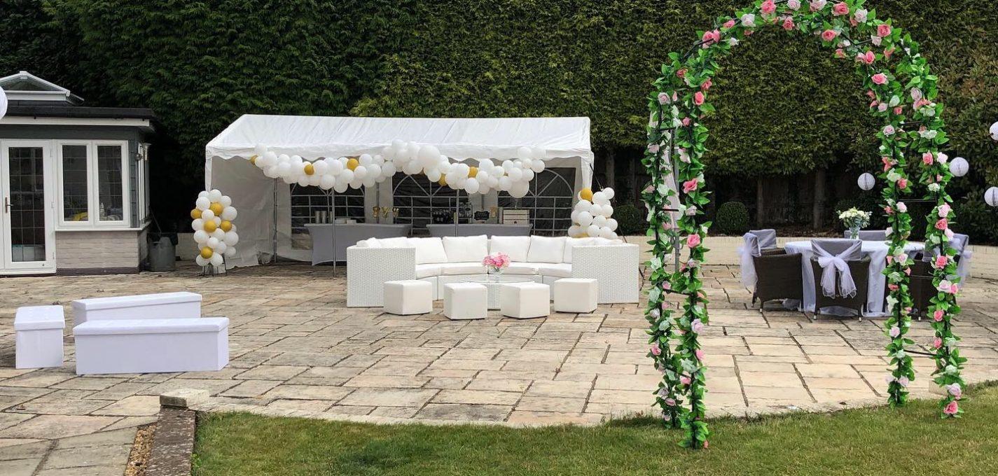 wedding furniture hire: garden wedding