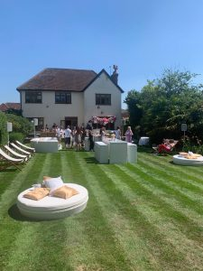 outdoor furniture hire for a garden party