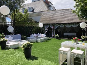 Outdoor furniture hire at a garden party