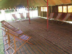 deckchair hire at a music festival