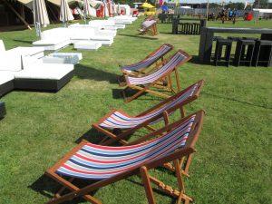 sofa hire and deckchairs music festival