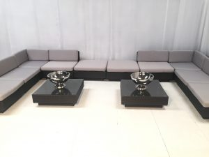 furniture for hire: Marrakesh sofas with grey covers