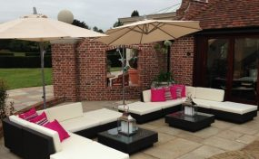 outdoor furniture rental for pub garden look