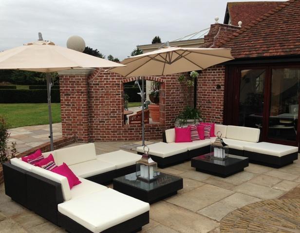 outdoor furniture rental for pub garden look