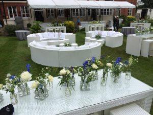 white rattan furniture hire outdoors